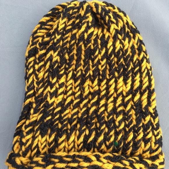 49dbc36a2 Black & Gold Winter Hat - Handmade